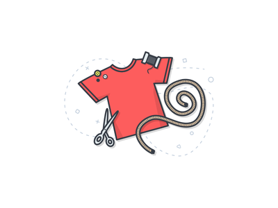 Tailor Tools button thread scissors lineart onboarding illustration