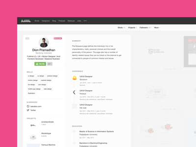 """Dribbble """"New"""" Feature new feature experience cv clean redesign dribbble resume"""