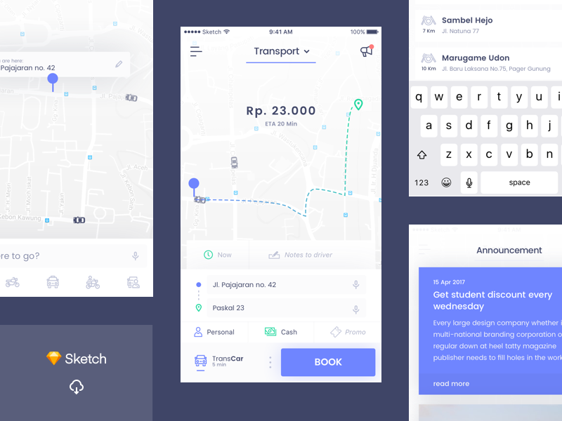 [Freebie] Online Transport UI ui design ios online transport goodies free sketch ui freebie