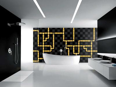 Pipe Tiles piping pipeline lego modular design interior tub bathroom bath pipes tiles pipe