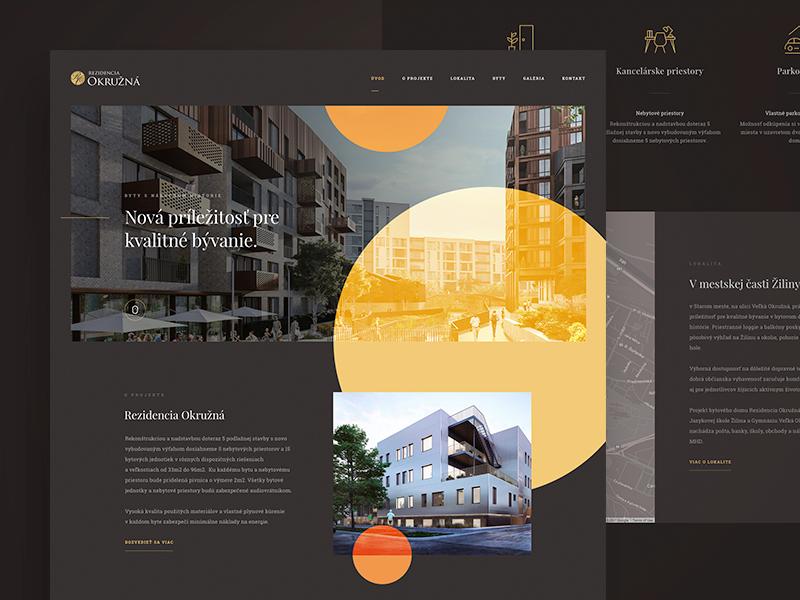 Residence Okruzna developer ui home page landing luxury website design web