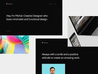 My brand portfolio minimalist dark portfolio intro webflow branding shot prototype animation sketch simple clean website web ui design