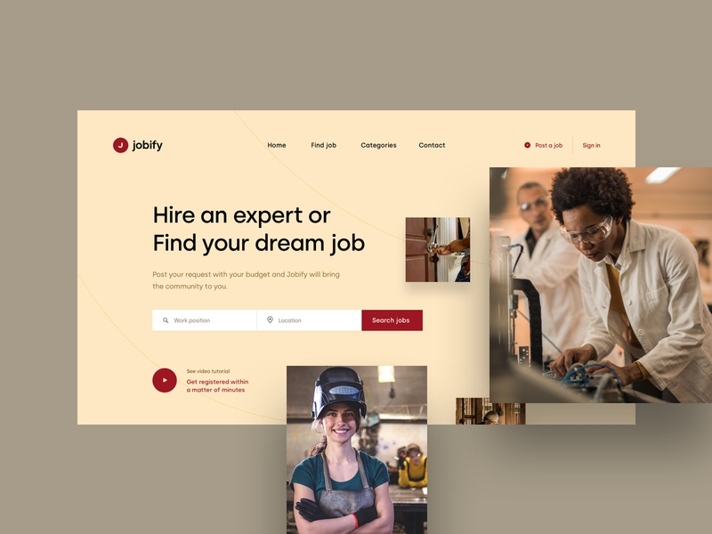 Job agency -  landing page visual design webdesign minimal creative homepage shot landing simple clean website web ui design