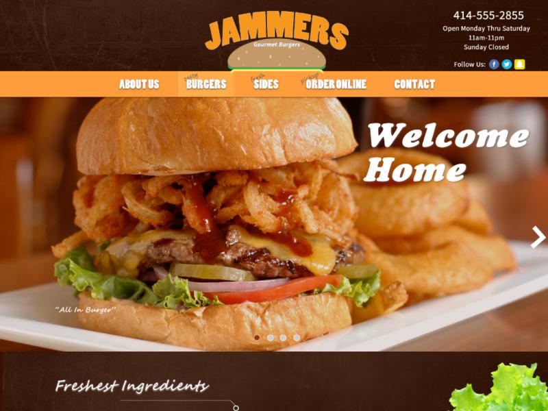 Jammers Burgers navbar eat food restaurant inspiration webdesigner webdesign logo burgers homepage uxdesign ui ux