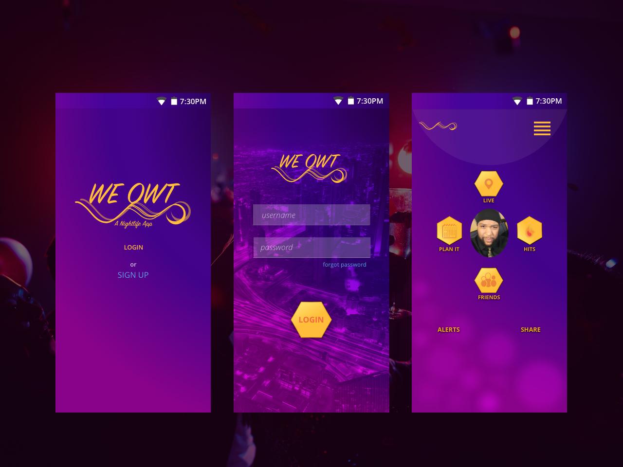 Weowt Nightlife App nightlife user experience userinterface appui appdesigner appdesign app branding uidesigner uidesign logodesign logo landingpage webdesigner webdesign ux ui