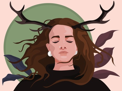 Self-portrait horn deer girl illustrator vector illustration