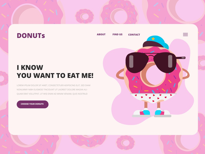 Donuts landing product page funny design food prodact page landing page web donuts inspiration 2d banner flat vector ui illustration