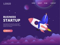 Business startup illustration landing page space business caracter branding logo ux landing page ui flat web illustration