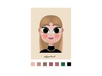 Cute girl illustration cartoon self portrait graphic design cute girl caracter vector flat design ui illustration web