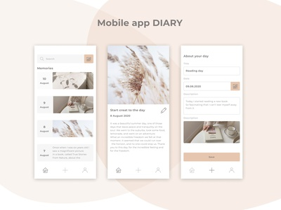 Mobile app DIARY minimal 2021 trend useful diary aesthetic simple design interface mobile app app ui