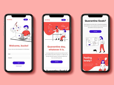 SendHelp Quarantine App illustrator website web ux ui typography illustration design branding app