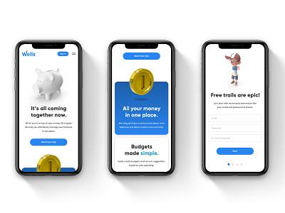 Wells Financial User Interface type illustrator website web ux ui illustration design branding app