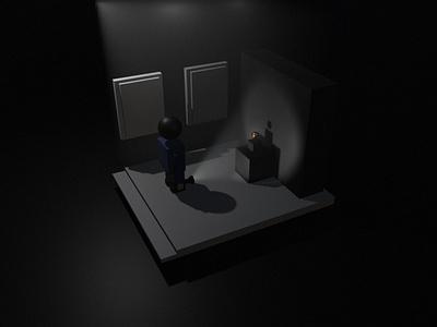 The Night Thief minimal art vector illustrator ui illustration design branding app blender 3d blender3d blender