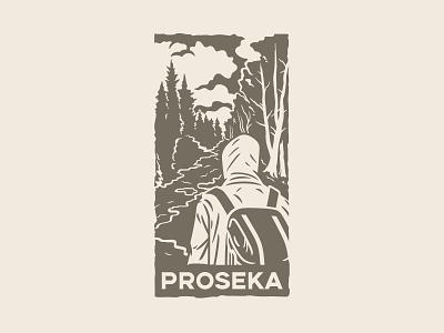 Proseka traveling travel human branding logo illustration design vector