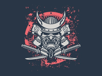 T-shirt print jiujitsu katana helmet samurai branding illustration design vector