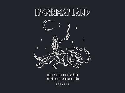 Ingermanland skeleton pagan wolf branding logo illustration design vector