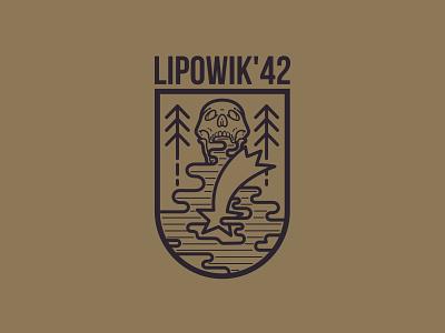 Lipovik 42 ww2 war ckull branding logo design vector
