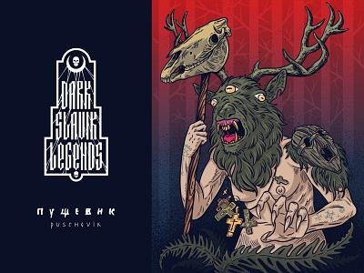 Dark slavic legends- Puschevik deer horns pagan slavic illustration design vector