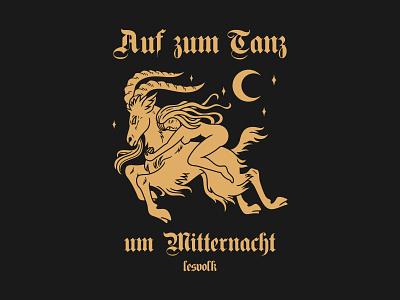 Auf Zum Tanz um Mitternacht goat night witch girl branding illustration design vector