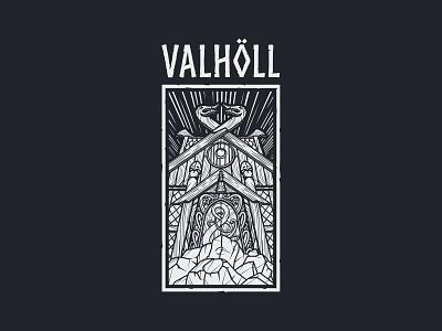 Valholl viking pagan tshirtprint tshirtdesign valhalla branding illustration design vector