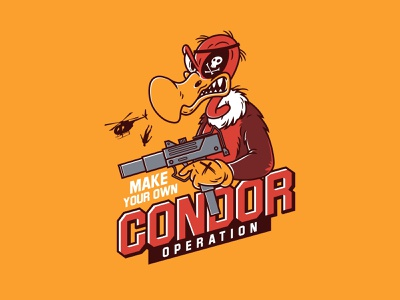 Condor operation angry uzi illustration vector cartoon condor