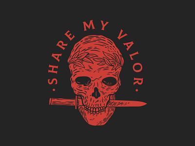 Share my Valor logo knife skull illustration design vector