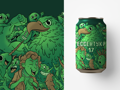 """""""Essentuki-17"""" mineral water concept art can green granny punk man wolf eagle characters illustration"""