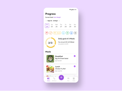 Fitness App Activity feed meal workout app fitness activity feed progress bar fitness app graphic design ui ux