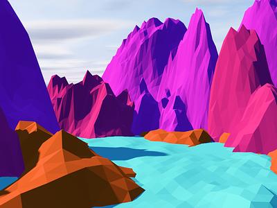 Mountain Landscape low poly landscape art c4d cinema4d minimal lowpoly river mountain design