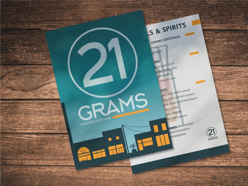 21 Grams uidesign ui graphic designer graphic design cafe cocktails menu catalog graphicdesigners mockup design