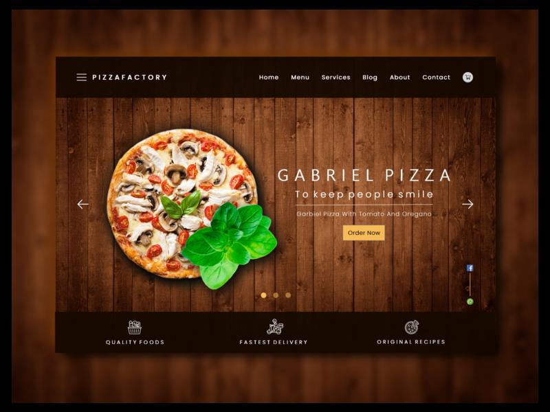 Pizza UI Landing Page Design typogaphy webdesign websites ux ui design