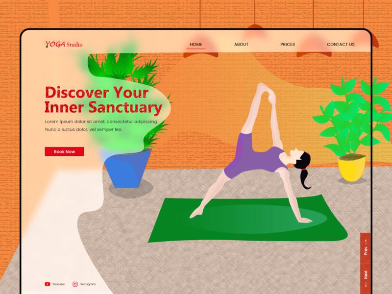 Yoga Landing Page yoga landing page webdesign vector illustration websites ux ui design