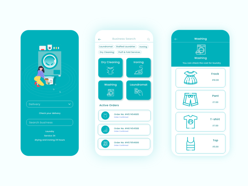 Laundry App Design mobile design mobile app mobile ui typography vector illustration app ux ui design