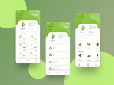 Phita Ponic Application flat icon ux ui design ui plant iot development hydroponics app