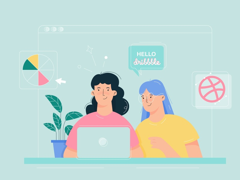 Hello Dribbble :) new hello dribble first post vector illustration illustraion hellodribbble firstshot