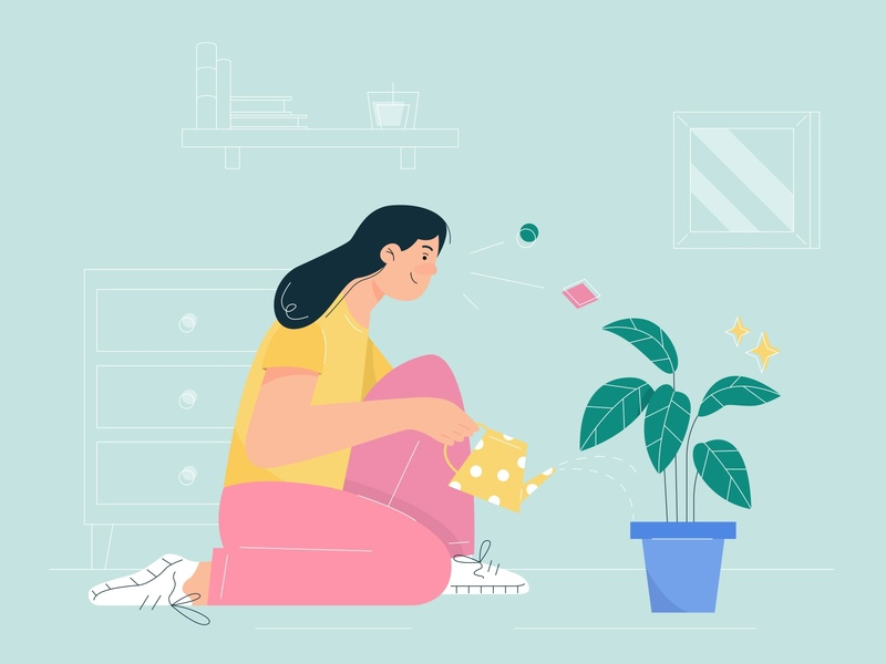 Plant lover flat design plant illustration flat illustration character design character adobe illustrator vector illustration