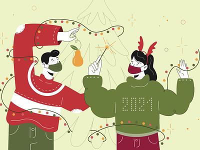 Unusual New Year ⭐️ newyear flat fiverr illustration flat illustration character design character adobe illustrator vector illustration