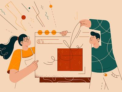 Gift shop branding design illustraion new illustration flat illustration character design character adobe illustrator vector illustration