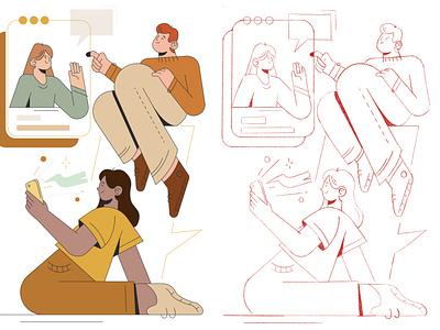 Social media vector illustraion flat new illustration flat illustration character design character adobe illustrator vector illustration