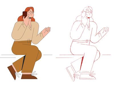 Call vector illustraion new flat illustration flat illustration character design character adobe illustrator vector illustration