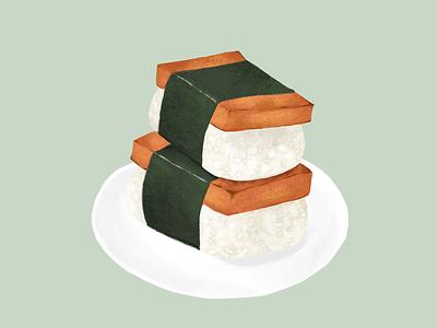 Spam Musubi ipad drawing snack food hawaii musubi spam sketch procreate illustration