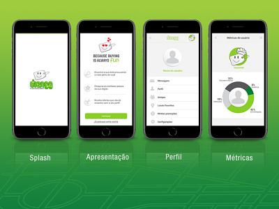 Frames do aplicativo Diengg ux  ui
