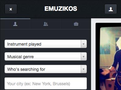 Emuzikos mobile version beta mobile search menu sidebar flat music
