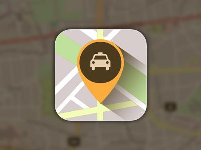 Mycollecto icon taxi icon map retina iphone long-shadow