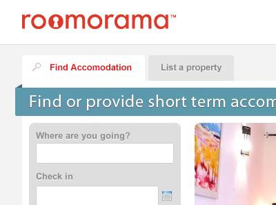 Roomorama Homepage roomorama ui homepage menu tabs search