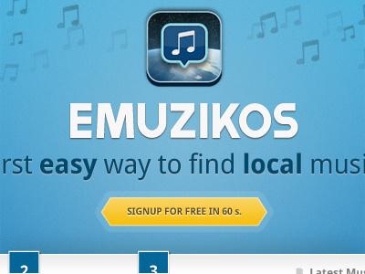 Emuzikos homepage emuzikos signup call-to-action logo brand