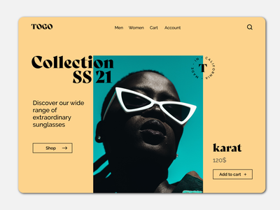 Togo Sunglasses sunglass homepage uiux ui design ecommerce landingpage userinterface user interface design visual design ui