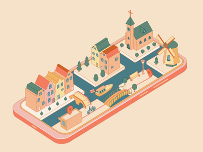 Amsterdam ✖✖✖ flag. bush bench pin path way bicycle bike tree windmill church houses boat netherlands holland amsterdam phone city isometric illustration