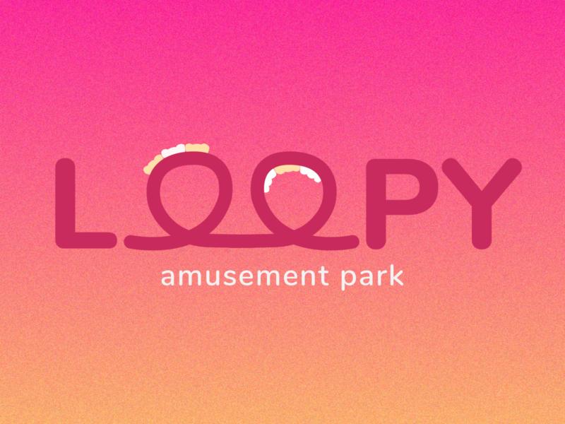 LOOPY Amusement Park ui branding gradient rollercoaster amusement park typography logotype logomark logo weeklywarmup minimal dribbbleweeklywarmup flat design flat adobe illustrator vector illustration design
