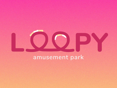 LOOPY Amusement Park ui branding gradient rollercoaster amusement park typography logotype logomark logo weeklywarmup minimal dribbbleweeklywarmup flat design flat adobe illustrator vector illustration design